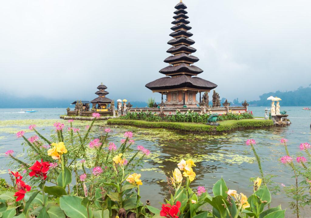 Water temple at Bratan lake, Bali. Pura Ulun Danu Beratan