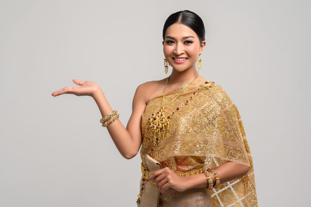 Beautiful Thai women wear Thai clothes and open his hand to the right