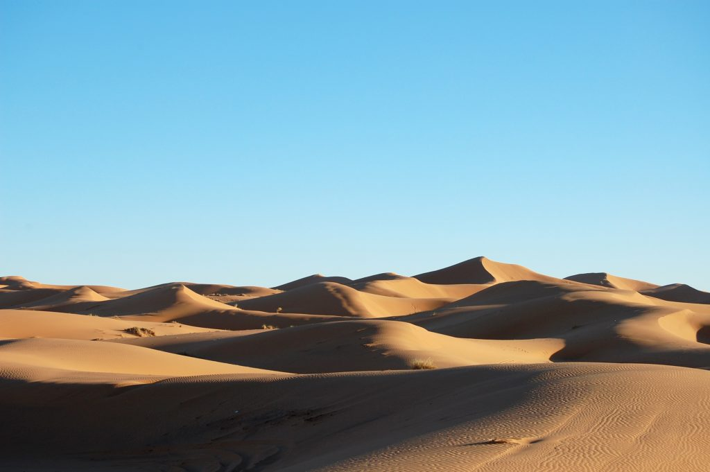 A wide shot of  sand-dunes in a desert at daytime