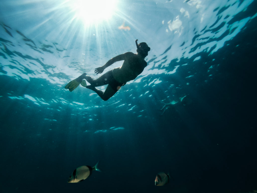 Underwater photo of a couple snorkeling in the sea surrounded by fish and rays of light piercing through
