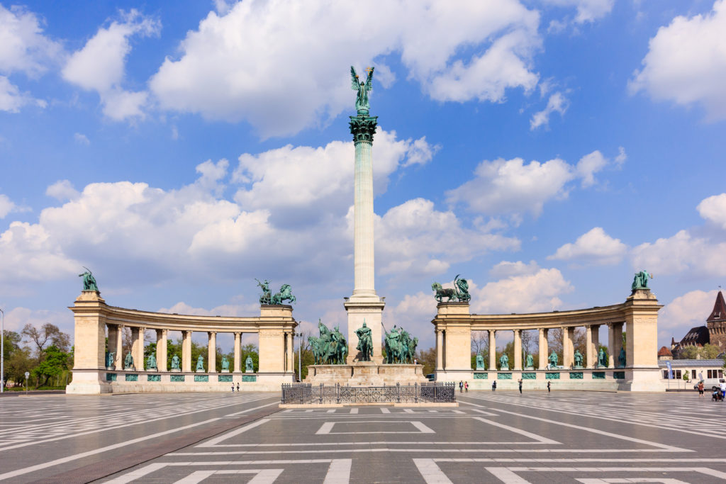 Heroes' Square, Hosok Tere or Millennium Monument, major attraction of city, with 36 m high Corinthian column in center, Budapest, Hungary.