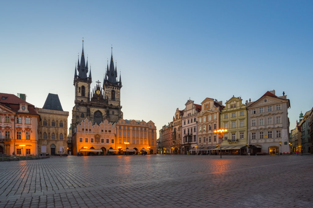 Prague old town square with view of Tyn Church in Czech Republic.