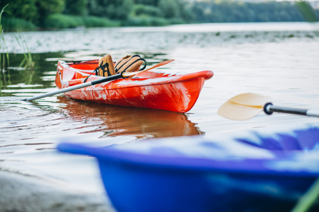 kayaking on the lake, boat alone