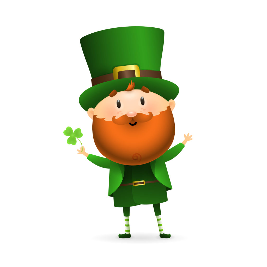 Bearded leprechaun with clover leaf. Happy dancing Irish man in green costume and hat. Can be used for topics like Saint Patrick day, character, holiday