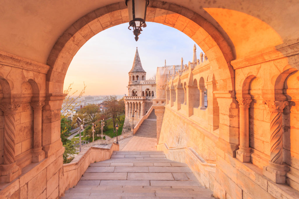 BUDAPEST, HUNGARY - APRIL 14, 2016: The north gate of the Fisherman's Bastion in Budapest, Hungary at morning time.