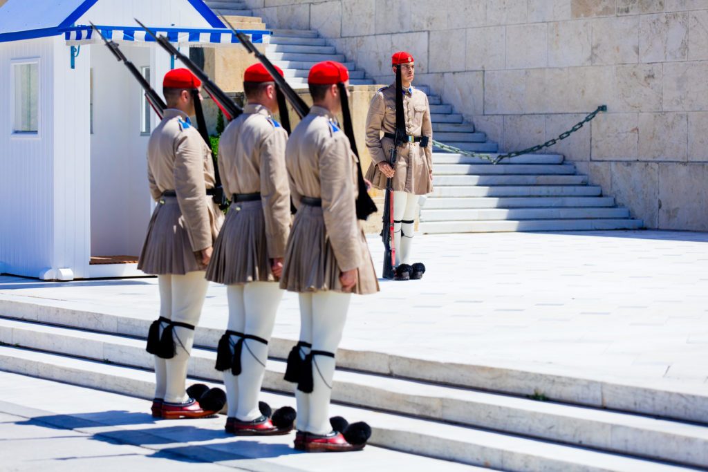 Athens, Greece - 06 June 2016: View on the guard near a palace in the down town of Athens, Greece