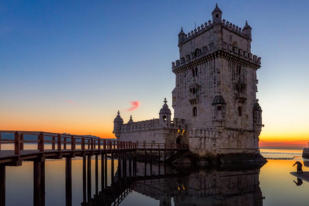 Lisbon landmark, Belem Tower at sunset on Tagus River in Portugal
