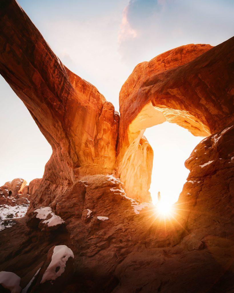 Beautiful shot of Grand Canyon rocks at sunset