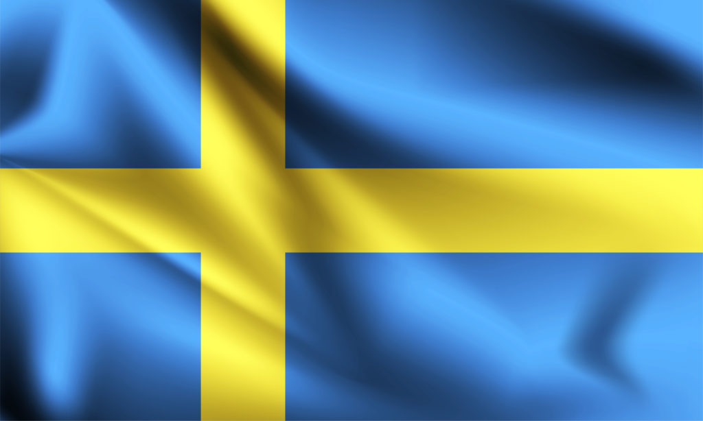 Sweden flag blowing in the wind. part of a series. Sweden waving flag.