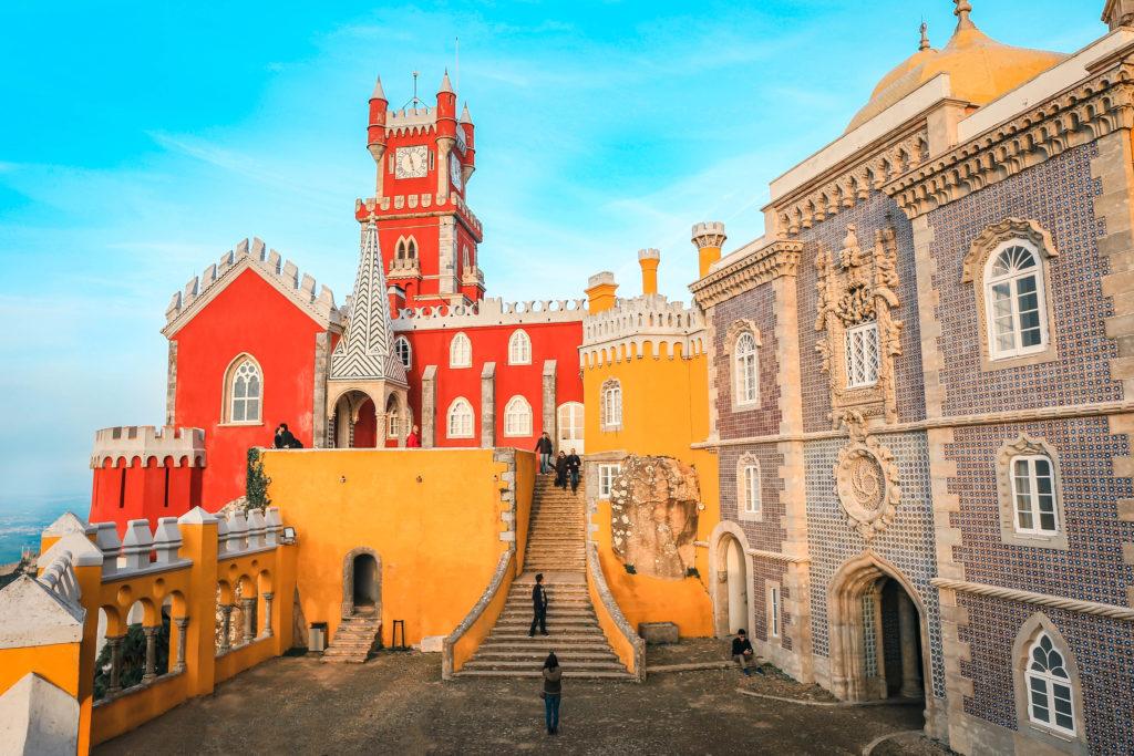 Sintra, Poptugal - December 24, 2018: Pena National Palace (Palacio Nacional da Pena) Romanticist palace in Sao Pedro de Penaferrim - UNESCO World Heritage Site and one of Seven Wonders of Portugal.