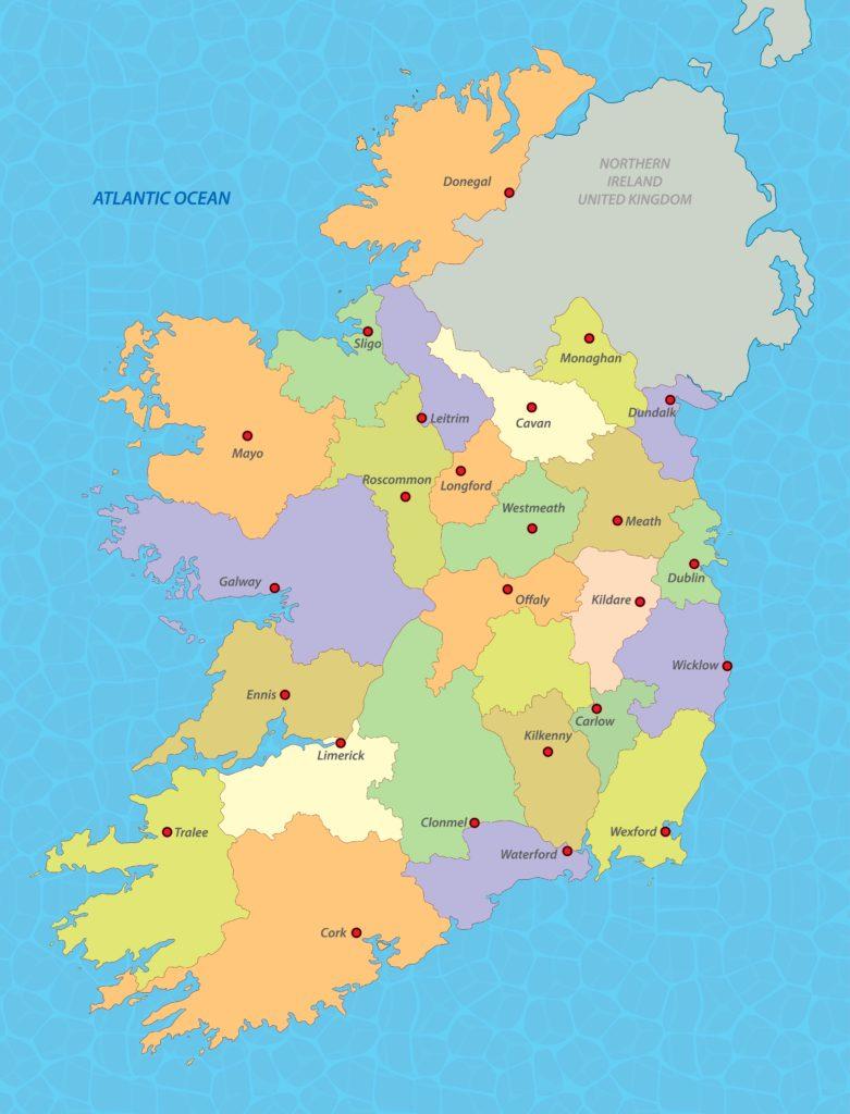 Kaart Ierland Rob Land Reizen