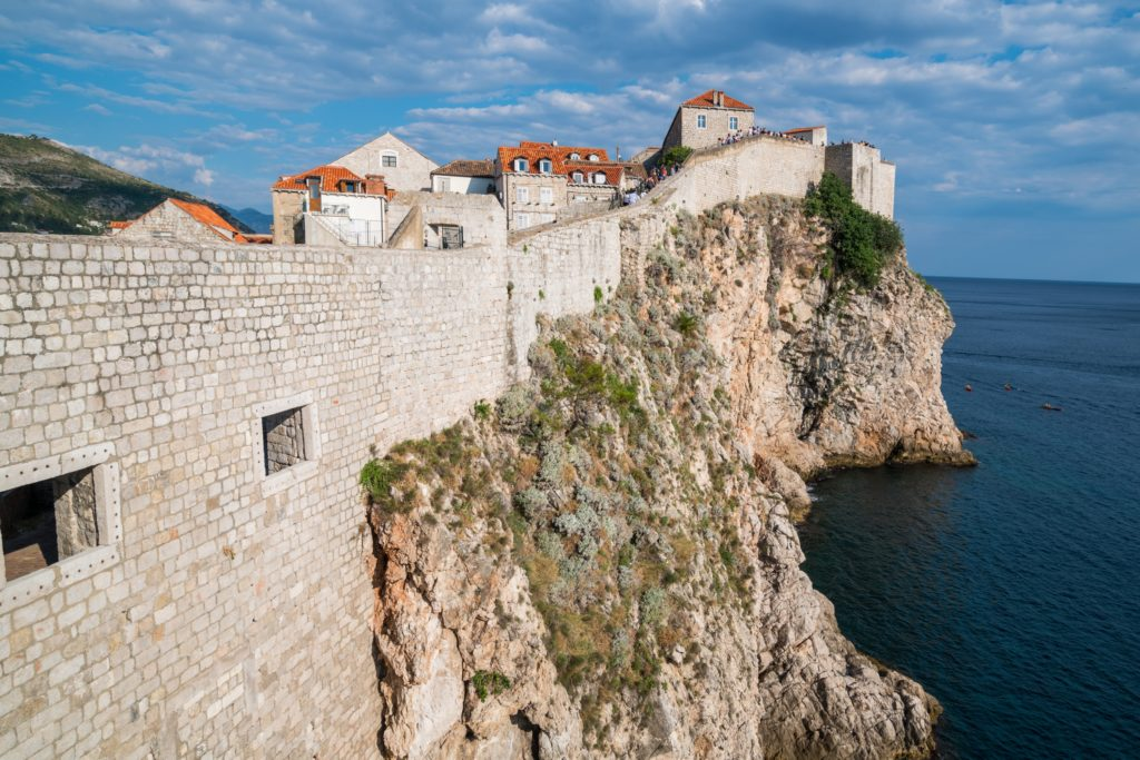 Historic wall of Dubrovnik Old Town, Croatia. Prominent travel destination of Croatia. Dubrovnik old town was listed as UNESCO World Heritage Sites in 1979.