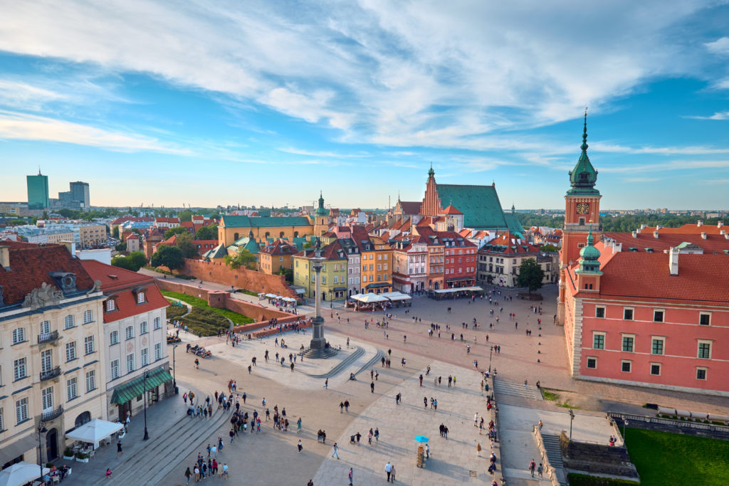 Aerial view of old town in Warsaw, Poland, on a summer day