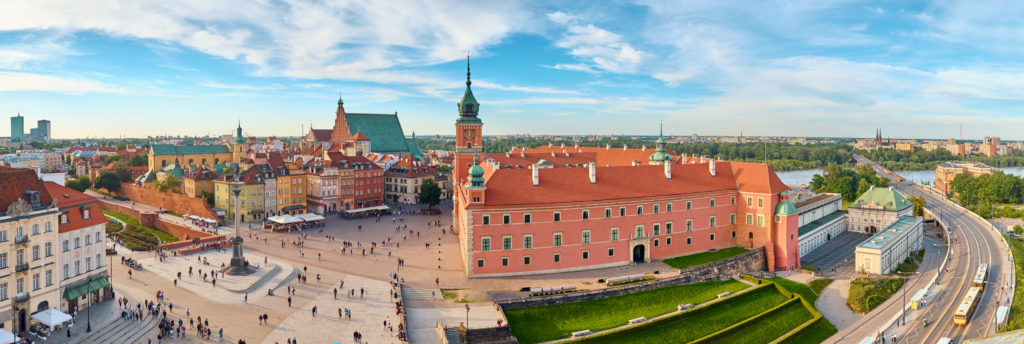 Aerial view of old town in Warsaw, Poland, on a summer day, panoramic image