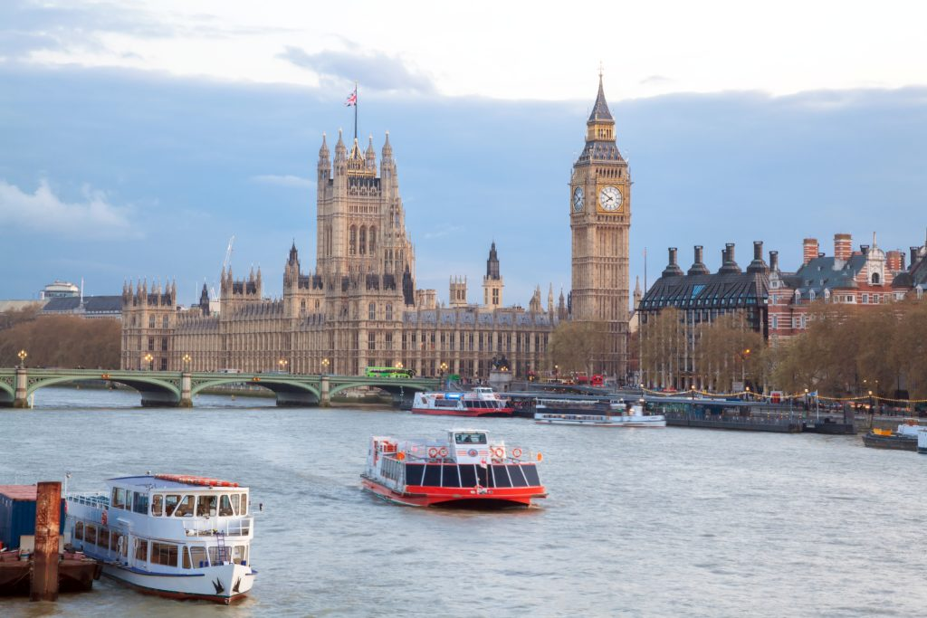 Cityscape of Big Ben and Westminster Bridge with river Thames London England UK