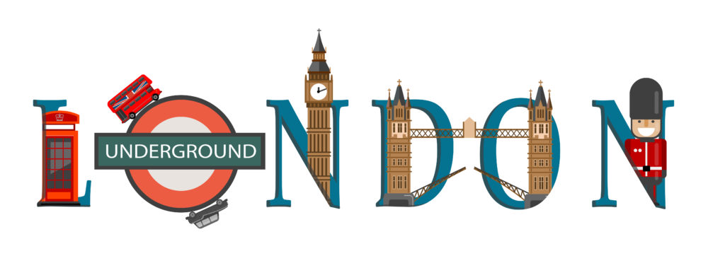 Travel infographic.London infographic, London  lettering and famous landmarks ,Discover London concept.
