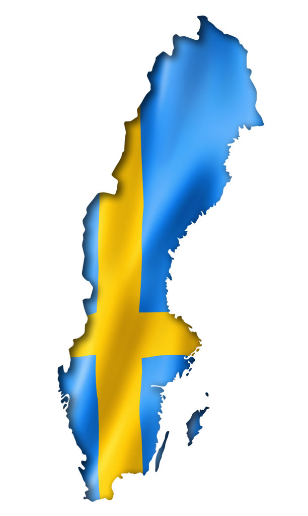 Sweden flag map, three dimensional render, isolated on white