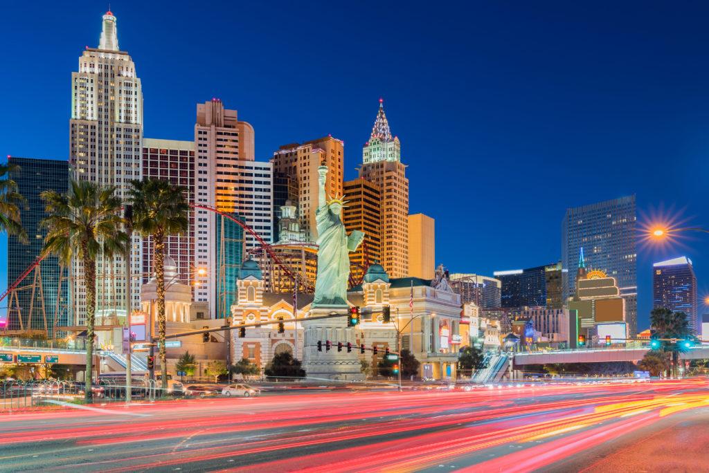Las Vegas strip cityscape in Nevada sunset USA