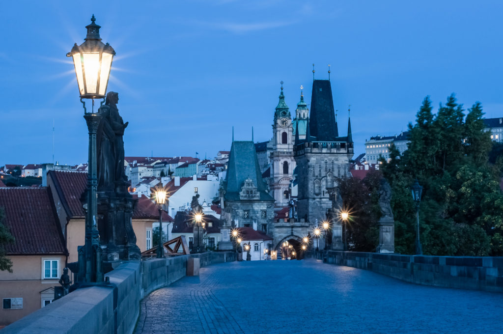 Prague, Czech Republic, Charles Bridge dawn, light of lanterns